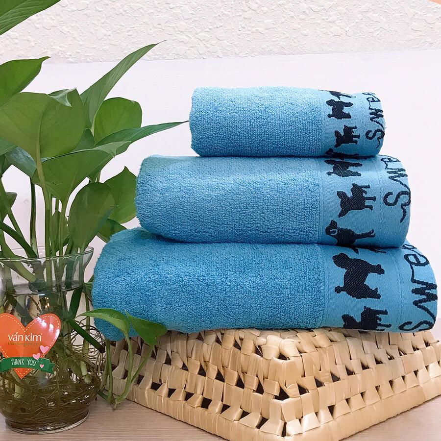 Set khăn quà tặng PETCUTE - màu xanh dương