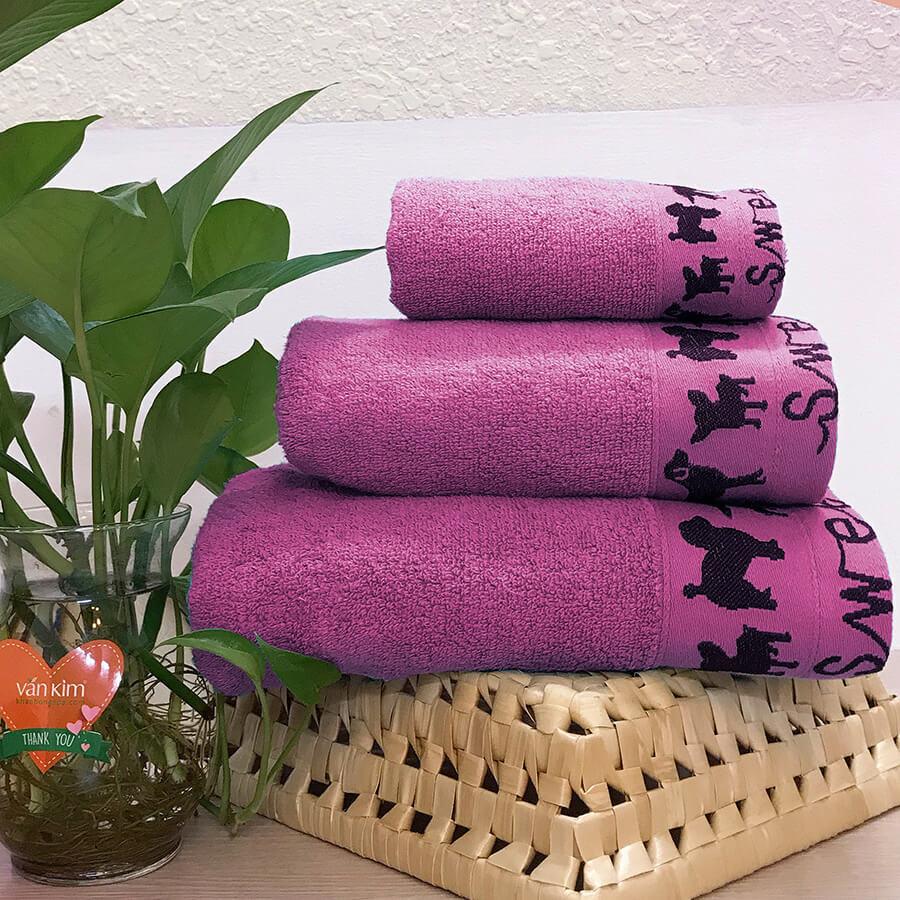 Set khăn quà tặng PETCUTE - màu hồng sen