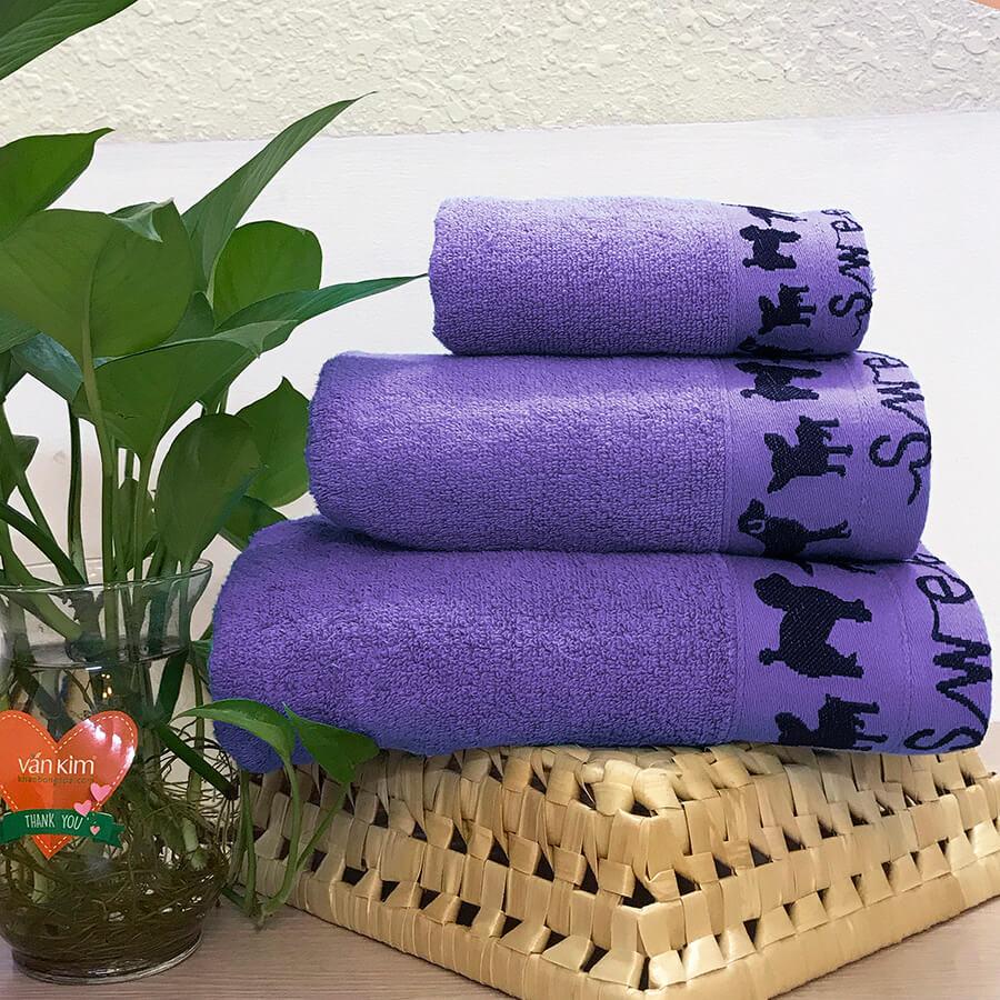 Set khăn quà tặng PETCUTE - màu tím
